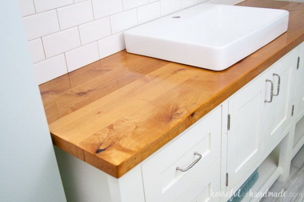 how to build & protect a wood vanity top - a houseful of handmade