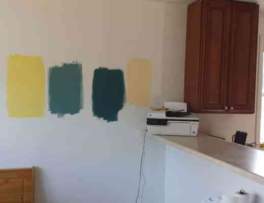 Behr Paint Colors - Bicycle Yellow, Vintage Teal, Cathedral, Butter Cookie