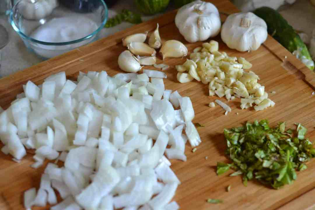 Garlic,onion and basil for pasta sauce.