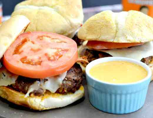 Chipotle cheeseburgers with chipotle aioli sauce. Great for