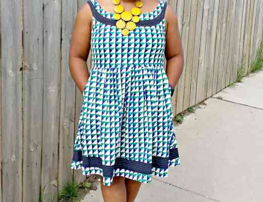 Mata Trader Dress with Stone's Throw Necklace in Yellow.