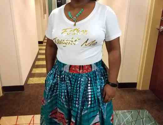 Ankara skirt and t-shirt