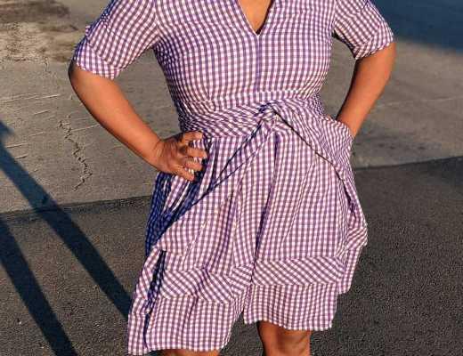 eShakti Purple Gingham Checked Dress
