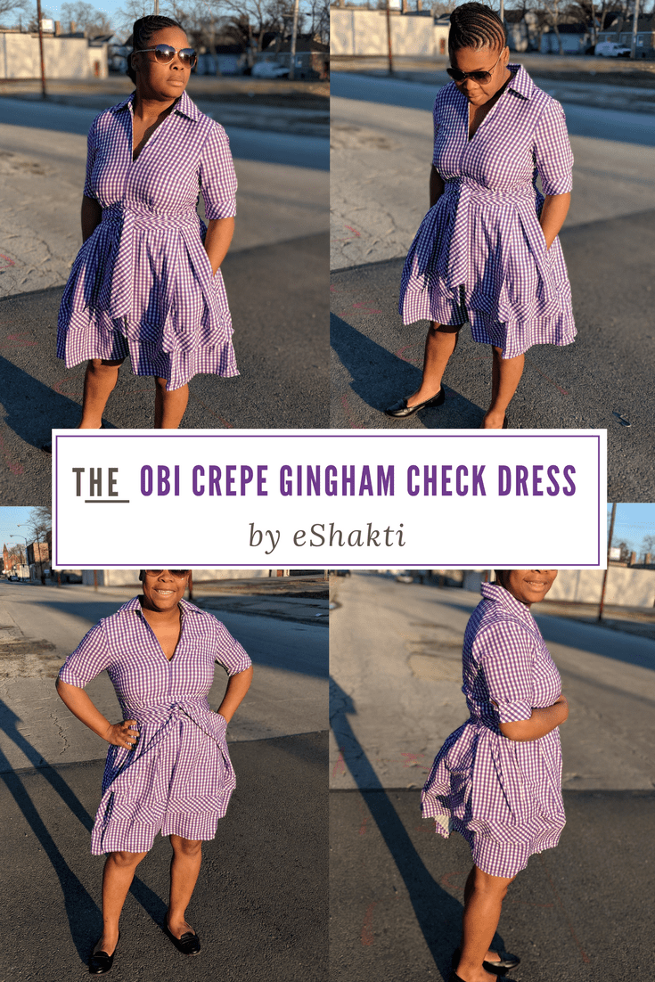 eShakti Purple Gingham Checked Dress