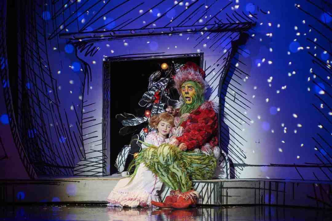 Gavin Lee as The Grinch and Mackenzie Jane Mercer as Cindy Lou in the 2018 Touring Company of DR SEUSS' HOW THE GRINCH STOLE CHRISTMAS! THE MUSICAL. Photo by Jordan Bush