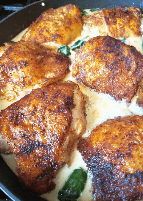 Lemon Cream Chicken is an easy weeknight dinner that doesn't cost much. One of the best ways to use chicken thighs!
