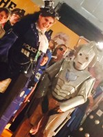 The finalists in Best Costume - Steampunk Tardis and a Cyberwoman.