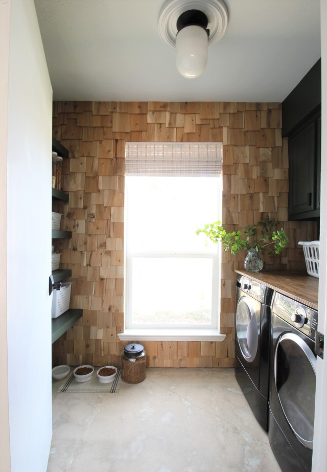 cedar shake accent wall in the laundry room