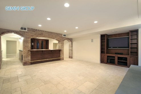 Basement in new construction home with bar