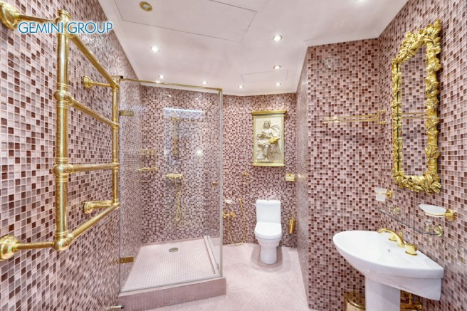 Interior design stylish bathroom luxury house.