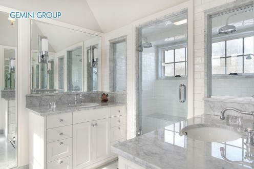 Master bath in new construction home with white cabnietry