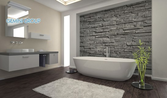 Modern Bathroom interior with stone wall