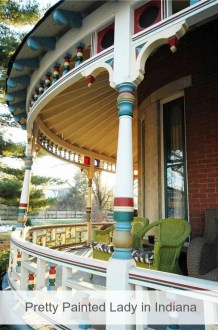 Victorian with Pretty Wraparound Porch in Indiana is All Fixed Up Historic Victorian for sale in Indiana with multi colored wraparound porch