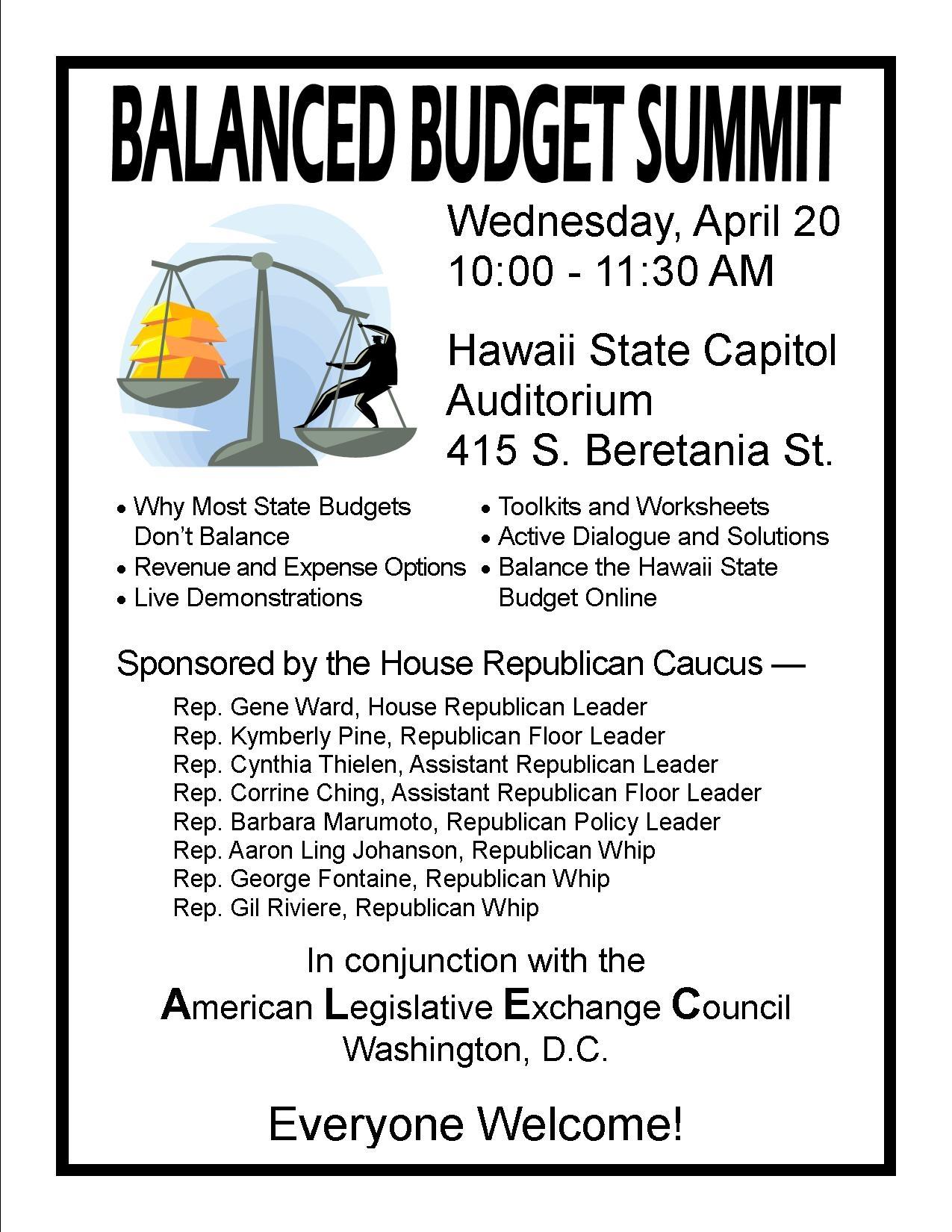 Balance Budget Summit April 20 At Capitol Gt Hawaii Free Press