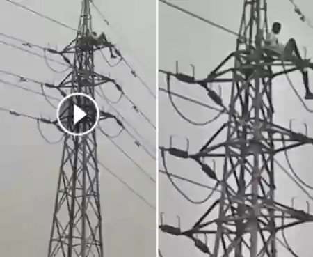 Man Climbs A High Tension Pole, Demands Money From President-Elect