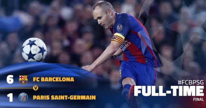 Video: Barcelona v PSG 6-1 (6-5 agg) Goals and Highlights (08/03/2017)