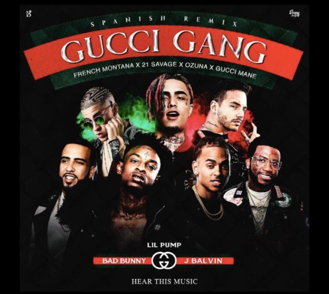 Lil Pump ft. Gucci Mane, Bad Bunny, Ozuna, J. Balvin, 21 Savage and French Montana - Gucci Gang Remix mp3 download