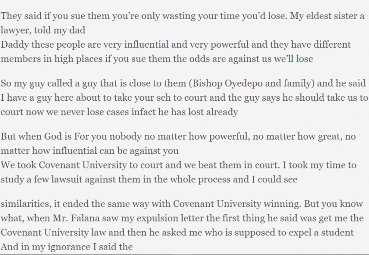 Covenant University student expelled unjustly wins court case against the school