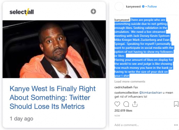Kanye West : People committing suicide for not getting likes on social media