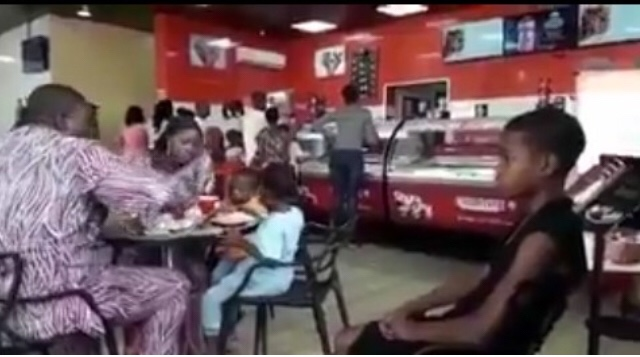 Couple Ignore Their Maid At A Restaurant While Enjoying Ice Cream & Pizza (Video)