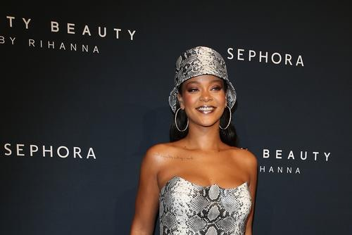 Rihanna Goes Braless in New Year Eve Gown