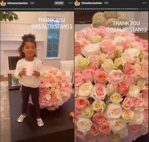 Khloe Kardashian Receives Flowers From Tristan Thompson