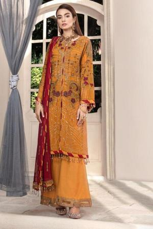 MOTIFZ | EMBROIDERED BEMBERG CHIFFON Collection | TULIP TREE-2579