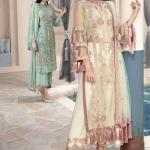 MOTIFZ | EMBROIDERED BEMBERG CHIFFON Collection | GREEN WHITE-2329