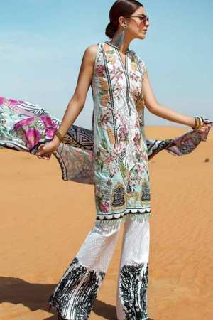 SAIRA SHAKIRA | CRIMSON LUXURY LAWN Collection | SAGE | CL-07 A