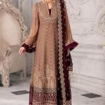 MOTIFZ | EMBROIDERED BEMBERG CHIFFON Collection | IRISH COFFEE-2651