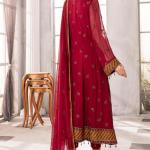 MOTIFZ | EMBROIDERED BEMBERG CHIFFON Collection | MERLOT-2652