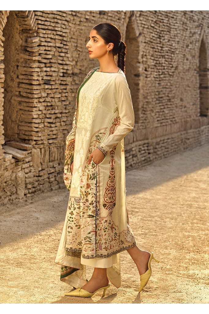 TENA DURRANI | Embroidered Lawn Suits | Ecru