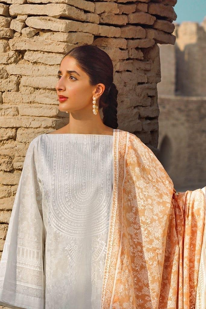 TENA DURRANI | Embroidered Lawn Suits | Vanilla