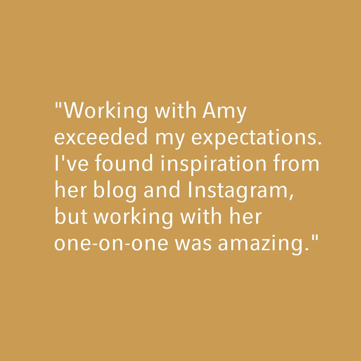 Testimonial - Working with Amy exceeded...