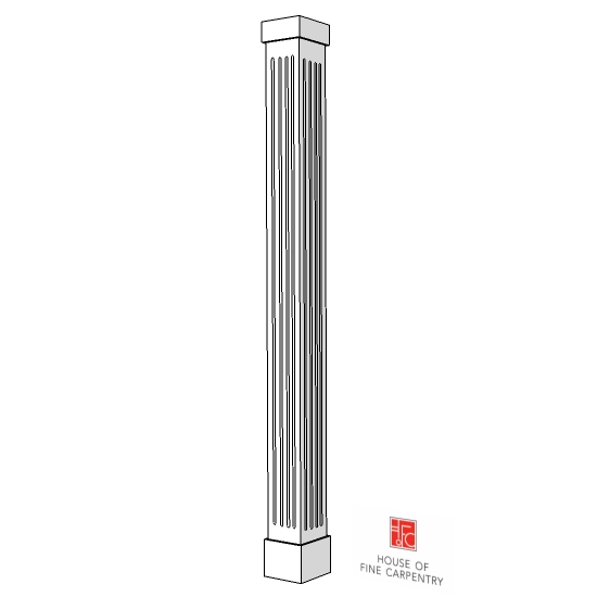 "10"" X 10"" X 6' Fluted Non-Tapered PVC Column"