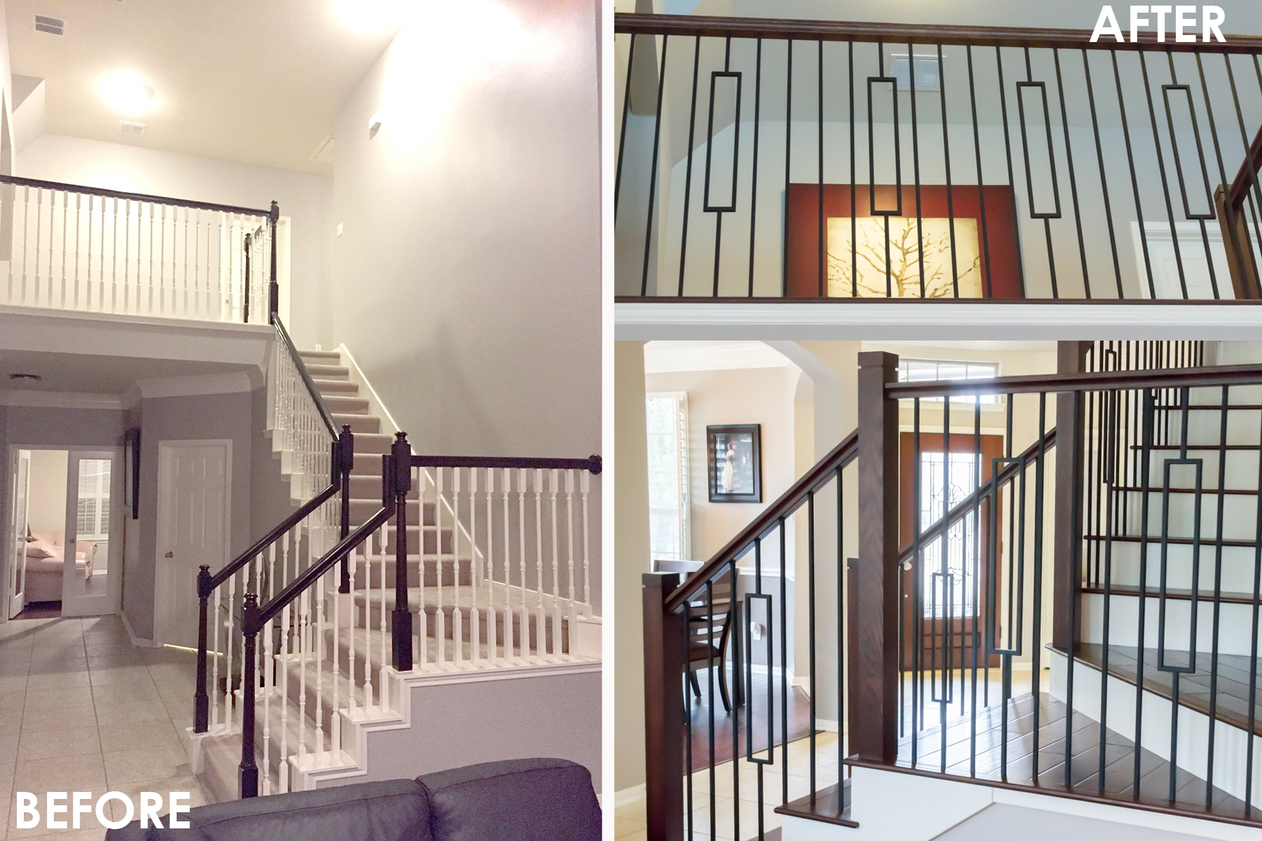 Before After Aalto Remodel2 – House Of Forgings Stair And | House Of Forgings Aalto | Stair Parts | Aalto Modern | Aalto Collection | Wrought Iron Baluster | Handrail