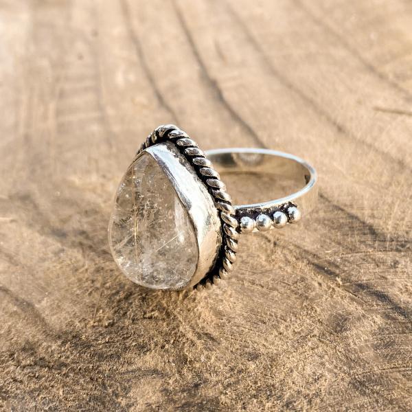 Rutiel Kwarts Druppel Ring 925 sterling zilver groot zij-aanzicht