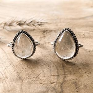 Twee Rutiel Kwarts Druppel Ringen 925 sterling zilver