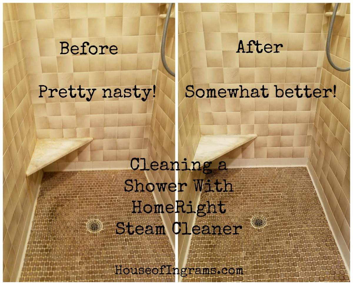 HouseofIngrams.com cleaning shower with HomeRight Steamer
