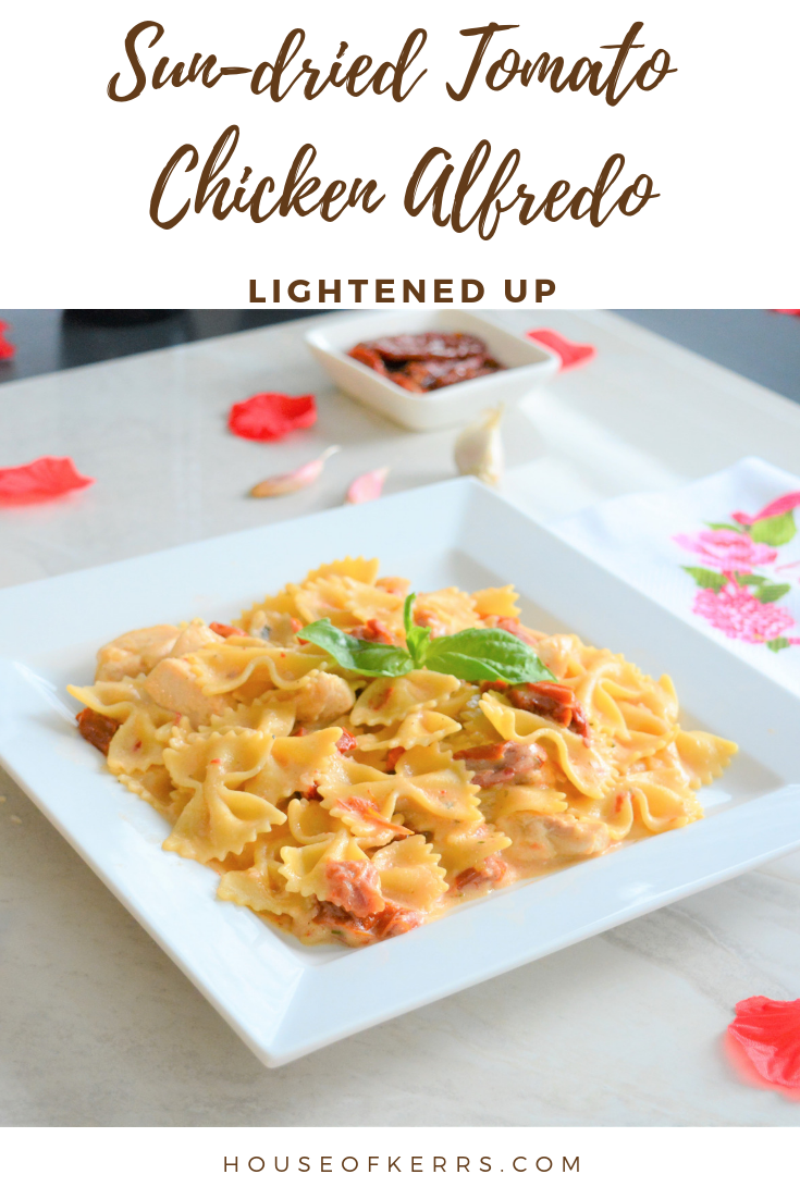 Sun-dried Tomato Chicken Alfredo Farfalle Recipe. Valentine's Day Family dinner | Easy Pasta Recipes |