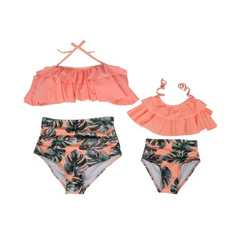 Mommy and mini matching| swimsuits.OrangeLeaf pattern | Mom Daughter Twinning