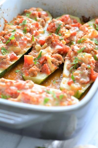 Turkey Parmigiana Zucchini Boats | Italian Meal Ideas | Family Recipes | Healthy Meal Ideas | La Cucina di Kerrs
