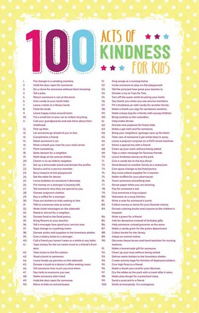 100 acts of kindness for kids
