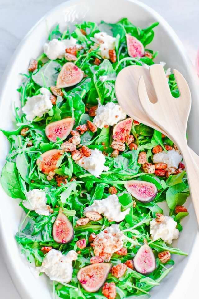 burrata fig arugula spinach salad