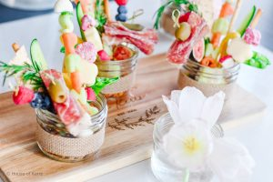 Spring Jarcuterie Board Berry skewers