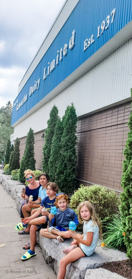 Family Ice Cream stop at Kawartha Dairy Headquarters in Bobcaygeon, ON