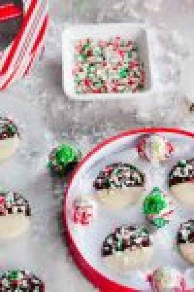 Dark Chocolate-Dipped Shortbread Cookies with Crushed Candy Canes