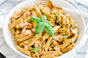 Salmon Pesto Pasta Recipe   Quick and easy dinner ideas   HouseofKerrs.com