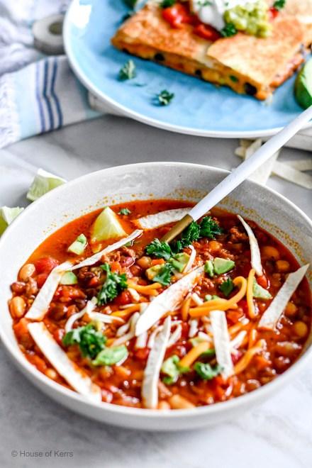 Plant Forward Meals   Mexican Tortilla Soup with chorizo, sliced flour tortilla, lime, avocado