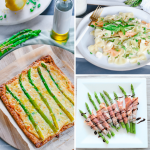 6 Simple Asparagus Recipes Brunch and Quick Dinner Ideas HouseofKerrs.com Springtime Pasta Prosciutto-Wrapped Asparagus Cheesy Asparagus Puff Pastry Tart Frittata